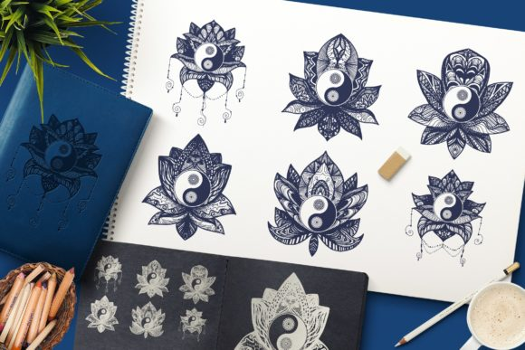 Download Free Yin Yang In Lotus Graphic By Barsrsind Creative Fabrica for Cricut Explore, Silhouette and other cutting machines.