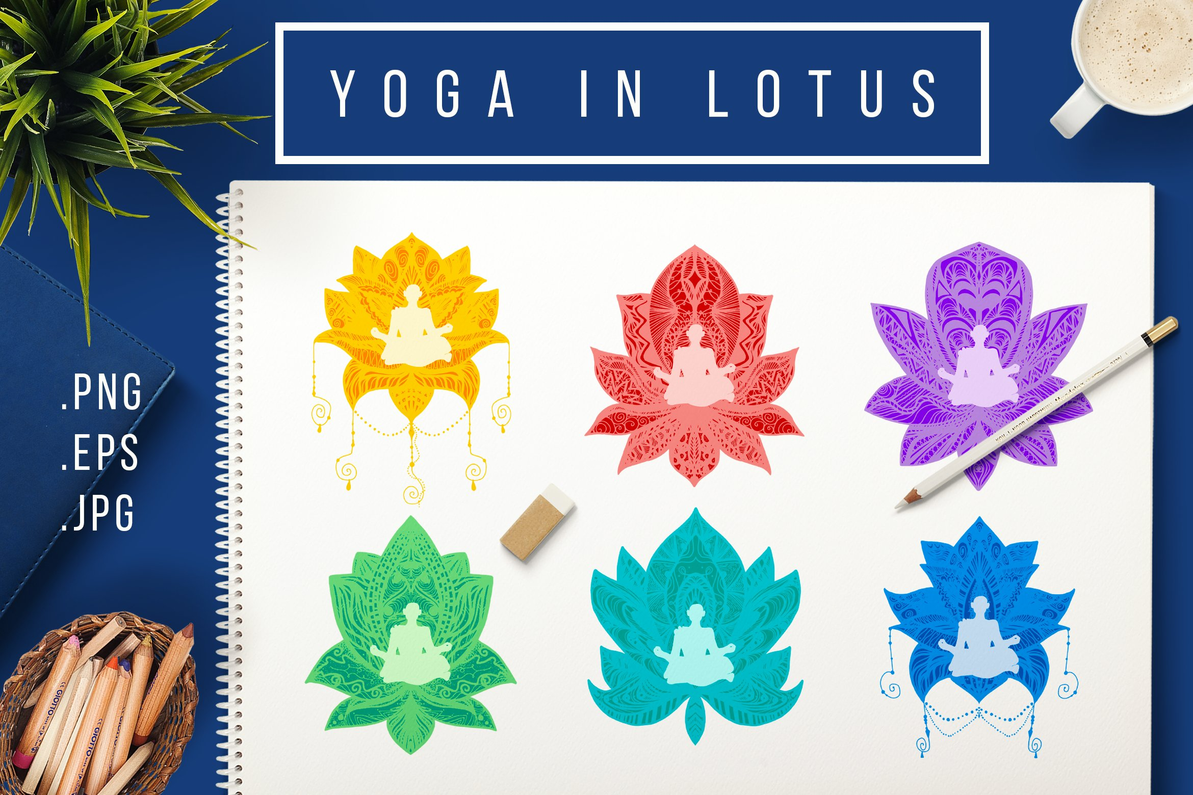 Download Free Yoga In Lotus Graphic By Barsrsind Creative Fabrica for Cricut Explore, Silhouette and other cutting machines.