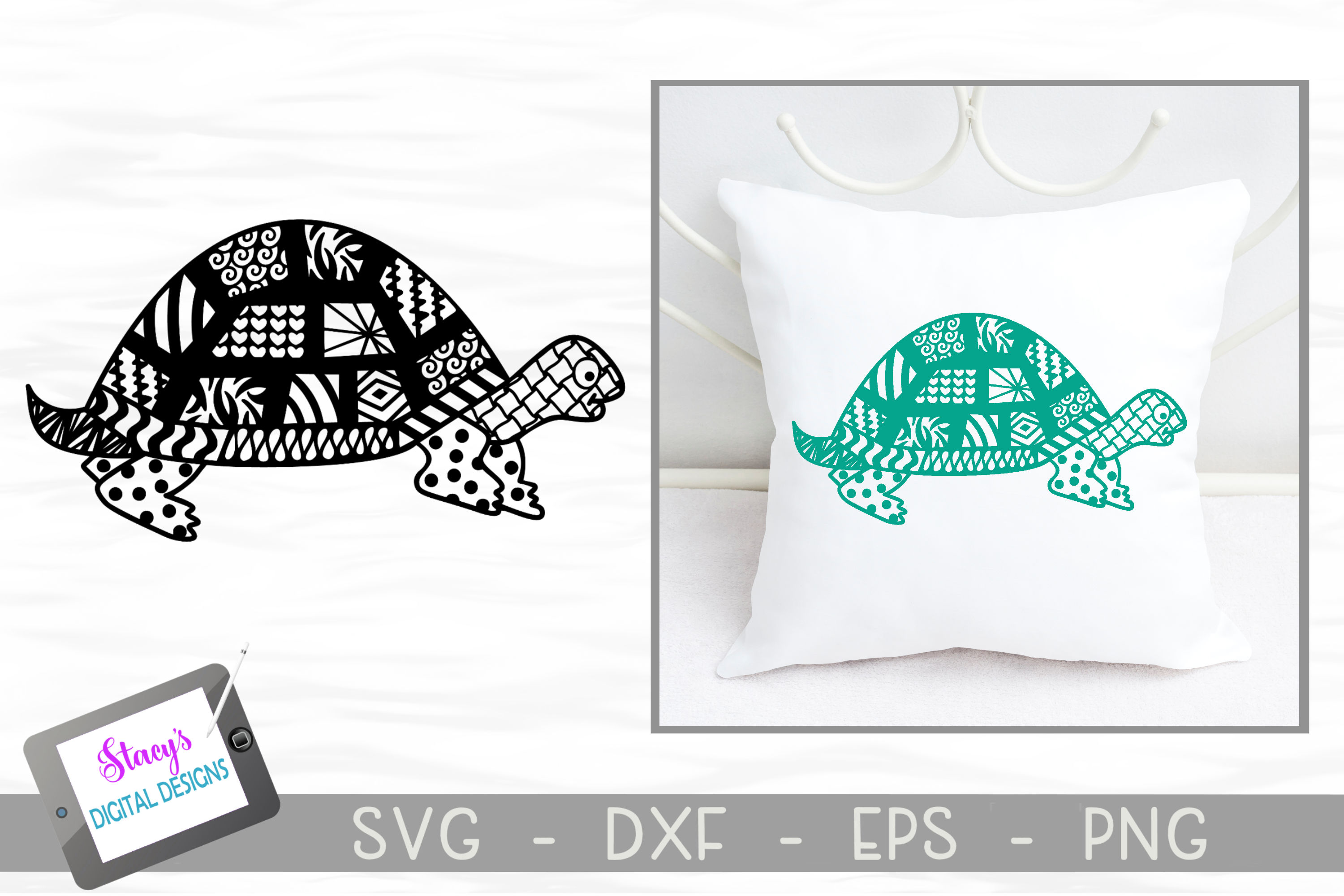 Download Free Zentangle Turtle Design Graphic By Stacysdigitaldesigns for Cricut Explore, Silhouette and other cutting machines.