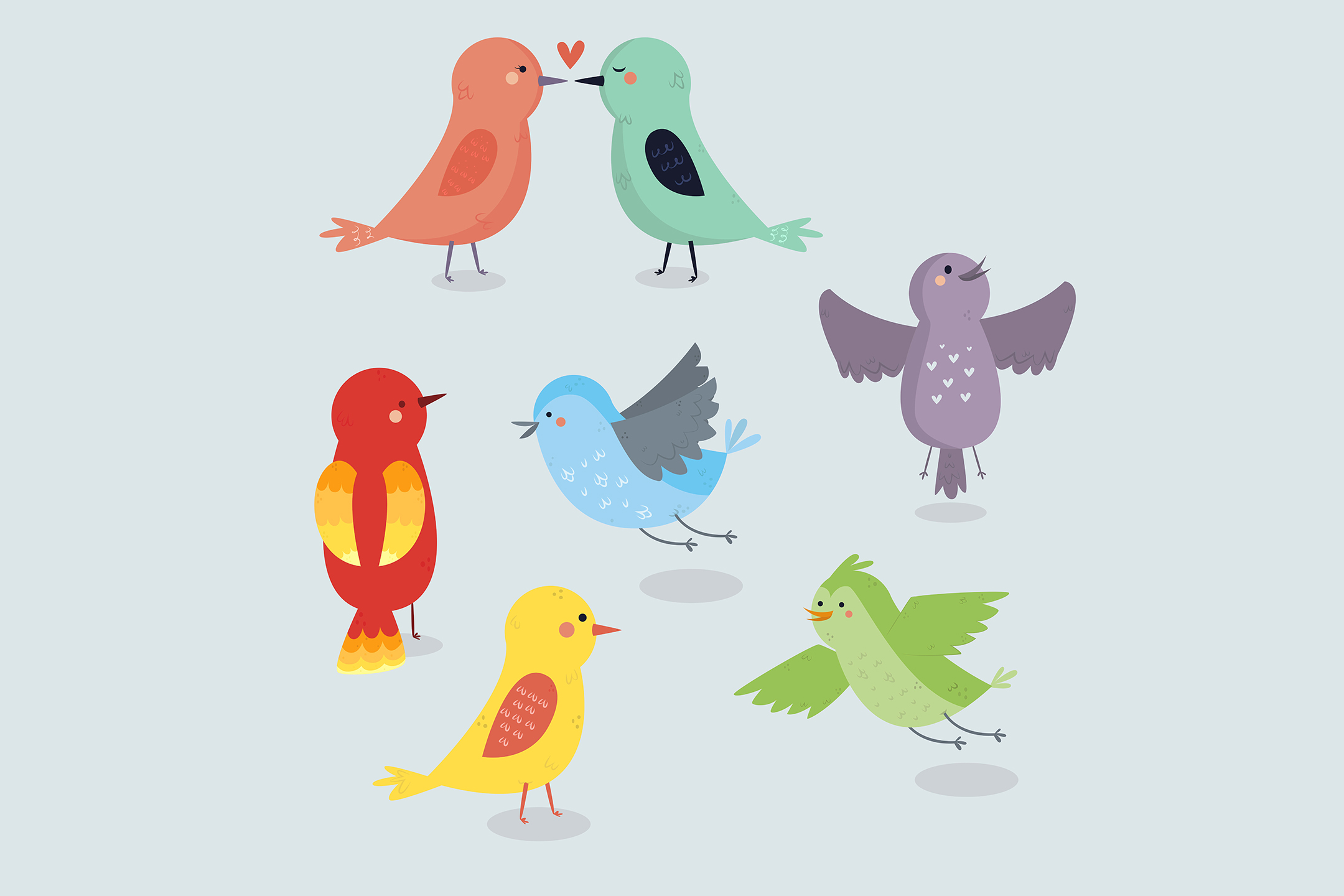 Download Free Bird Collection Hand Drawn Graphic By Aprlmp276 Creative Fabrica for Cricut Explore, Silhouette and other cutting machines.