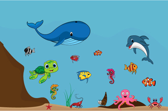 Print on Demand: Cute Sea Animal Collection Graphic Illustrations By curutdesign