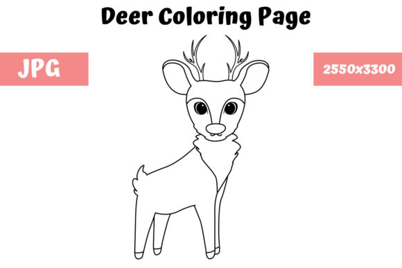 Print on Demand: Deer Coloring Book Page for Kids Graphic Coloring Pages & Books Kids By MyBeautifulFiles