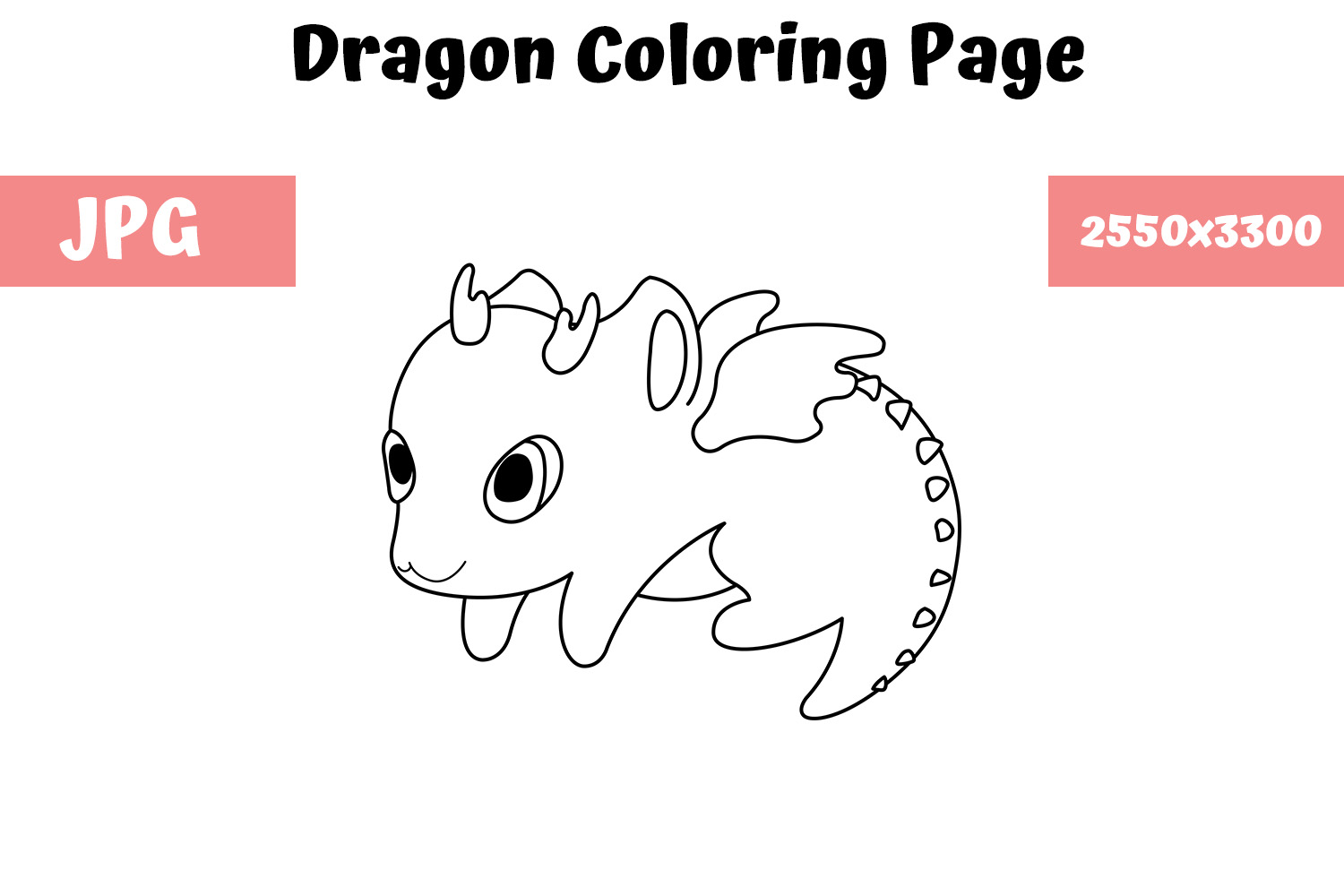 Download Free Dragon Coloring Book Page For Kids Graphic By Mybeautifulfiles for Cricut Explore, Silhouette and other cutting machines.
