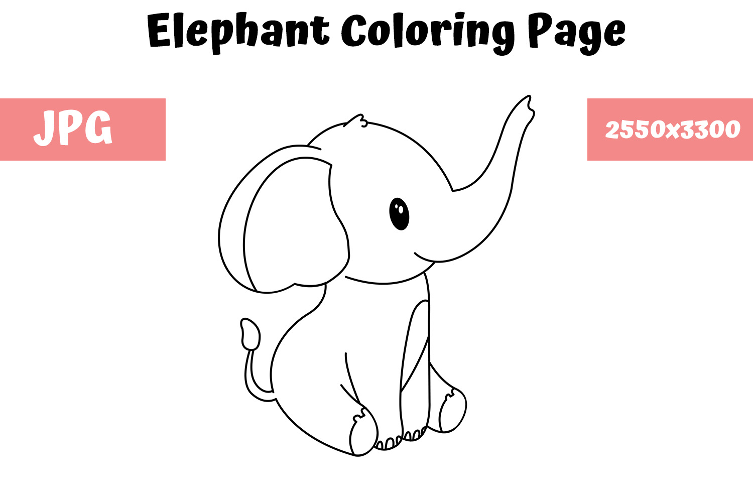 - Elephant Coloring Book Page For Kids (Graphic) By MyBeautifulFiles