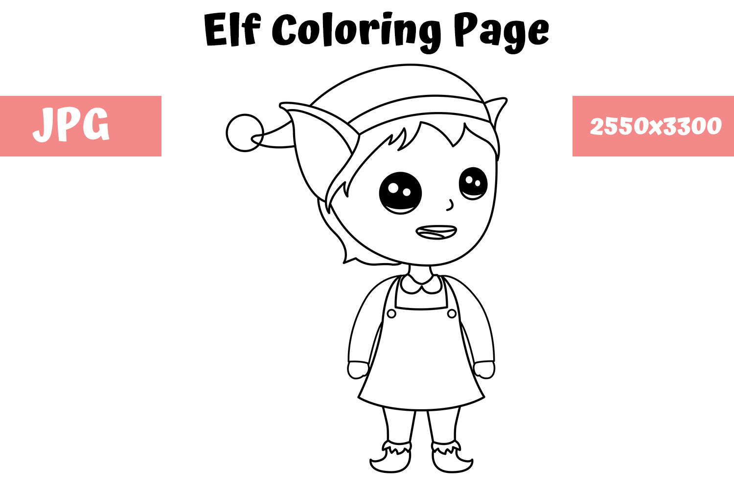 Download Free Elf Coloring Book Page For Kids Graphic By Mybeautifulfiles for Cricut Explore, Silhouette and other cutting machines.