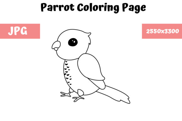 Print on Demand: Parrot Coloring Book Page for Kids Graphic Coloring Pages & Books Kids By MyBeautifulFiles