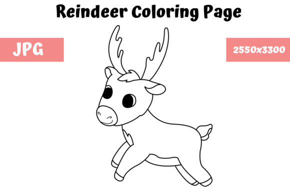 Print on Demand: Reindeer Coloring Book Page for Kids Graphic Coloring Pages & Books Kids By MyBeautifulFiles