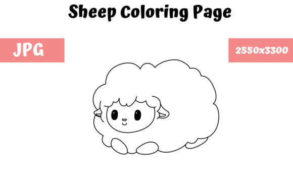 Print on Demand: Sheep Coloring Book Page for Kids Graphic Coloring Pages & Books Kids By MyBeautifulFiles