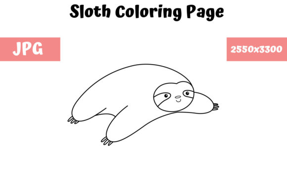 Print on Demand: Sloth Coloring Book Page for Kids Graphic Coloring Pages & Books Kids By MyBeautifulFiles - Image 1