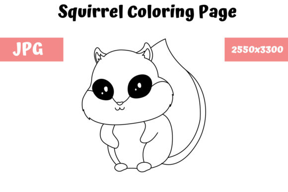 Print on Demand: Squirrel Coloring Book Page for Kids Graphic Coloring Pages & Books Kids By MyBeautifulFiles