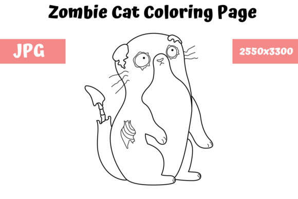 Print on Demand: Zombie Cat Coloring Book Page for Kids Graphic Coloring Pages & Books Kids By MyBeautifulFiles