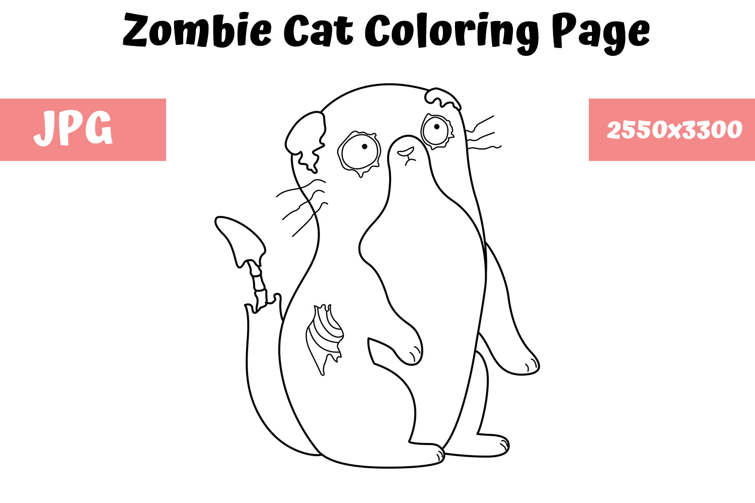 - Zombie Cat Coloring Book Page For Kids (Graphic) By
