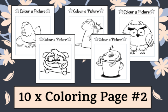 Print on Demand: 10 Coloring Pages Activity Sheets #2 Graphic K By Hungry Puppy Studio