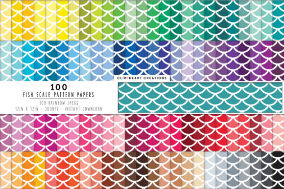 100 Fish Scales Pattern Paper Graphic Backgrounds By clipheartcreations