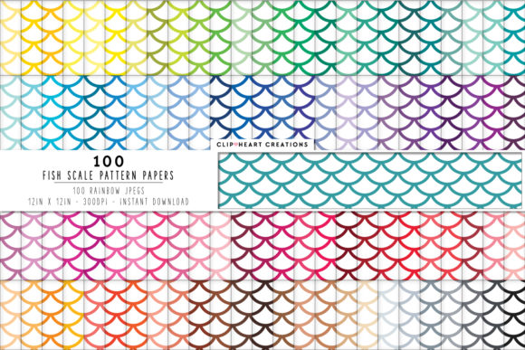 Download Free 100 Fish Scales Pattern Paper Graphic By Clipheartcreations for Cricut Explore, Silhouette and other cutting machines.