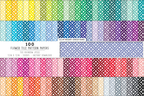 Download Free 100 Flower Pattern Papers Graphic By Clipheartcreations for Cricut Explore, Silhouette and other cutting machines.