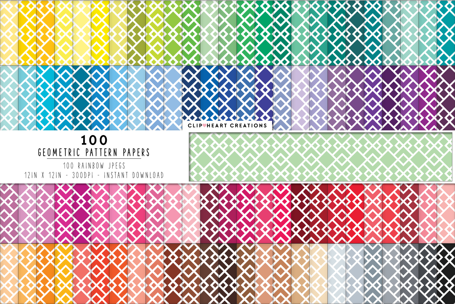 Download Free 100 Geometric Pattern Papers Graphic By Clipheartcreations Creative Fabrica for Cricut Explore, Silhouette and other cutting machines.