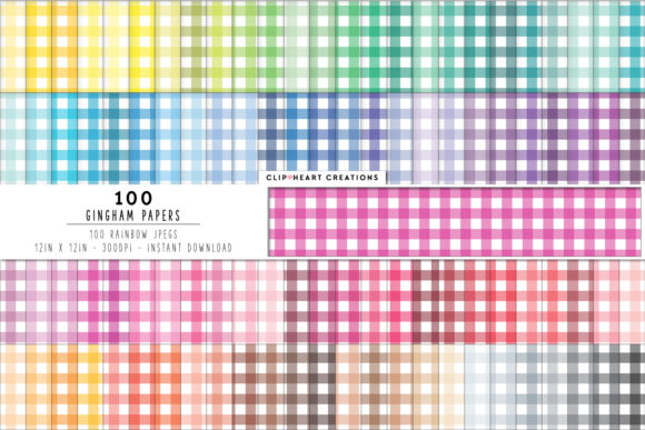 100 Gingham Pattern Papers Graphic Backgrounds By clipheartcreations