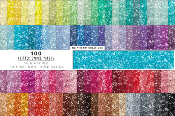 100 Glitter Ombre Papers Graphic Backgrounds By clipheartcreations