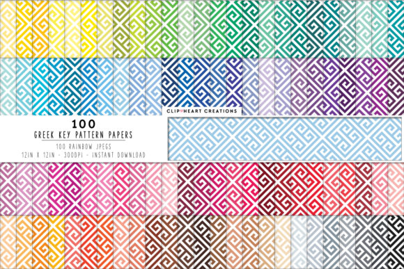 100 Greek Pattern Papers Graphic Backgrounds By clipheartcreations