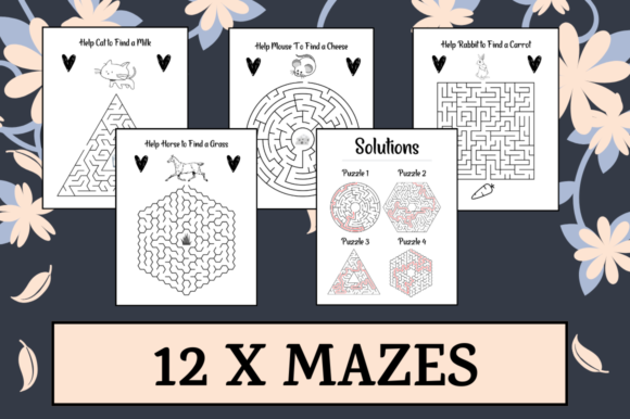 Download Free 12 Mazes Worksheet Activity Sheets Graphic By Hungry Puppy for Cricut Explore, Silhouette and other cutting machines.