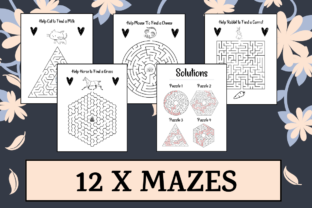 Print on Demand: 12 Mazes Worksheet Activity Sheets Graphic 1st grade By KDP Mastermind