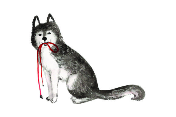 Husky with Leash in Mouth Dogs Craft Cut File By Creative Fabrica Crafts