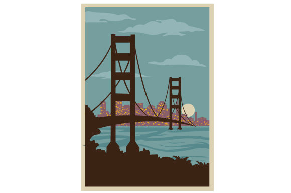 Download Free Vintage San Francsico Poster Svg Cut File By Creative Fabrica for Cricut Explore, Silhouette and other cutting machines.