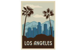 Vintage Los Angeles Poster U.S.A. Craft Cut File By Creative Fabrica Crafts