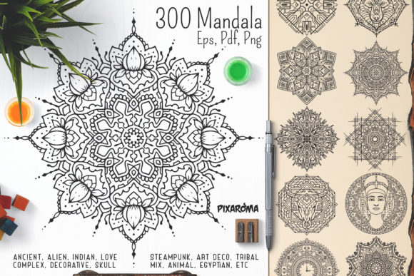 300 Vector Mandala Ornaments Graphic Illustrations By pixaroma