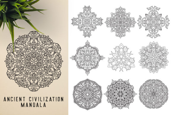 300 Mandala Ornaments Graphic Illustrations By pixaroma - Image 12
