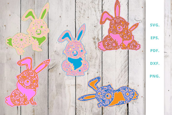 Download Free 3d Bunny Out Of Mandala Bundle Graphic By Sintegra Creative for Cricut Explore, Silhouette and other cutting machines.
