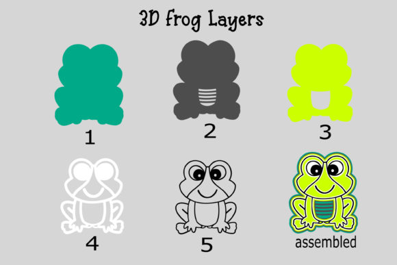 Download Free 3d Layered Frog Graphic By Stacysdigitaldesigns Creative Fabrica for Cricut Explore, Silhouette and other cutting machines.