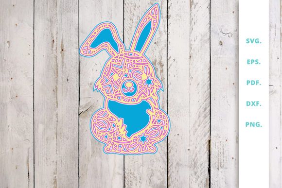 Download Free 3d Multi Layer Bunny Out Of Mandala 1 Graphic By Sintegra for Cricut Explore, Silhouette and other cutting machines.