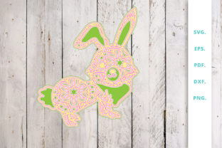 Print on Demand: 3D Multi Layer Bunny out of Mandala 2 Graphic 3D SVG By Sintegra