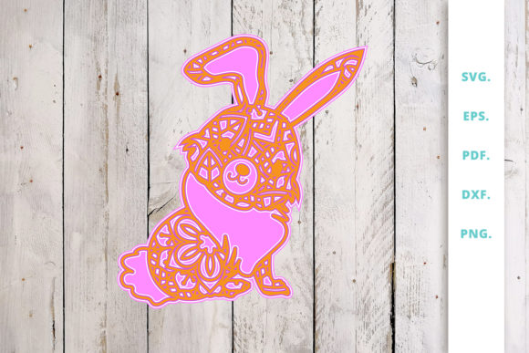 Download Free 3d Multi Layer Bunny Out Of Mandala 3 Graphic By Sintegra for Cricut Explore, Silhouette and other cutting machines.