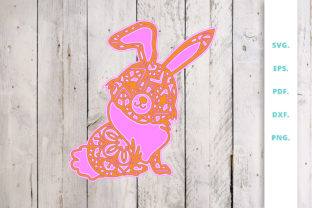 Print on Demand: 3D Multi Layer Bunny out of Mandala 3 Graphic 3D SVG By Sintegra