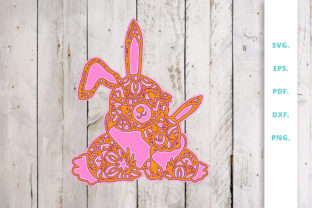 Print on Demand: 3D Multi Layer Bunny out of Mandala 4 Graphic 3D SVG By Sintegra