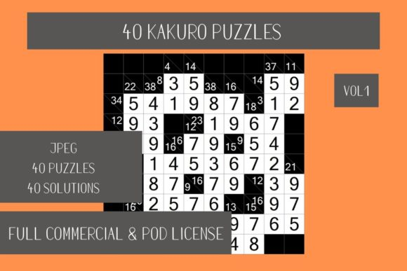 Download Free 40 Kakuro Puzzles With Solutions Vol 1 Graphic By Fleur De Tango for Cricut Explore, Silhouette and other cutting machines.