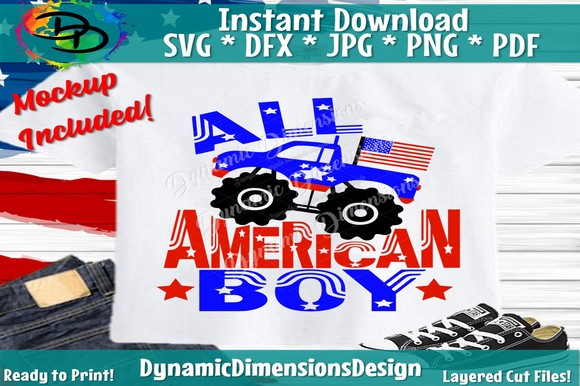 Download Free All American Boy Monster Truck Graphic By Dynamicdimensions for Cricut Explore, Silhouette and other cutting machines.