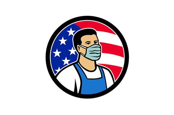 Print on Demand: American Food Worker As Hero USA Flag   Graphic Illustrations By patrimonio
