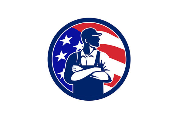 Download Free American Organic Farmer Usa Flag Circle Graphic By Patrimonio for Cricut Explore, Silhouette and other cutting machines.