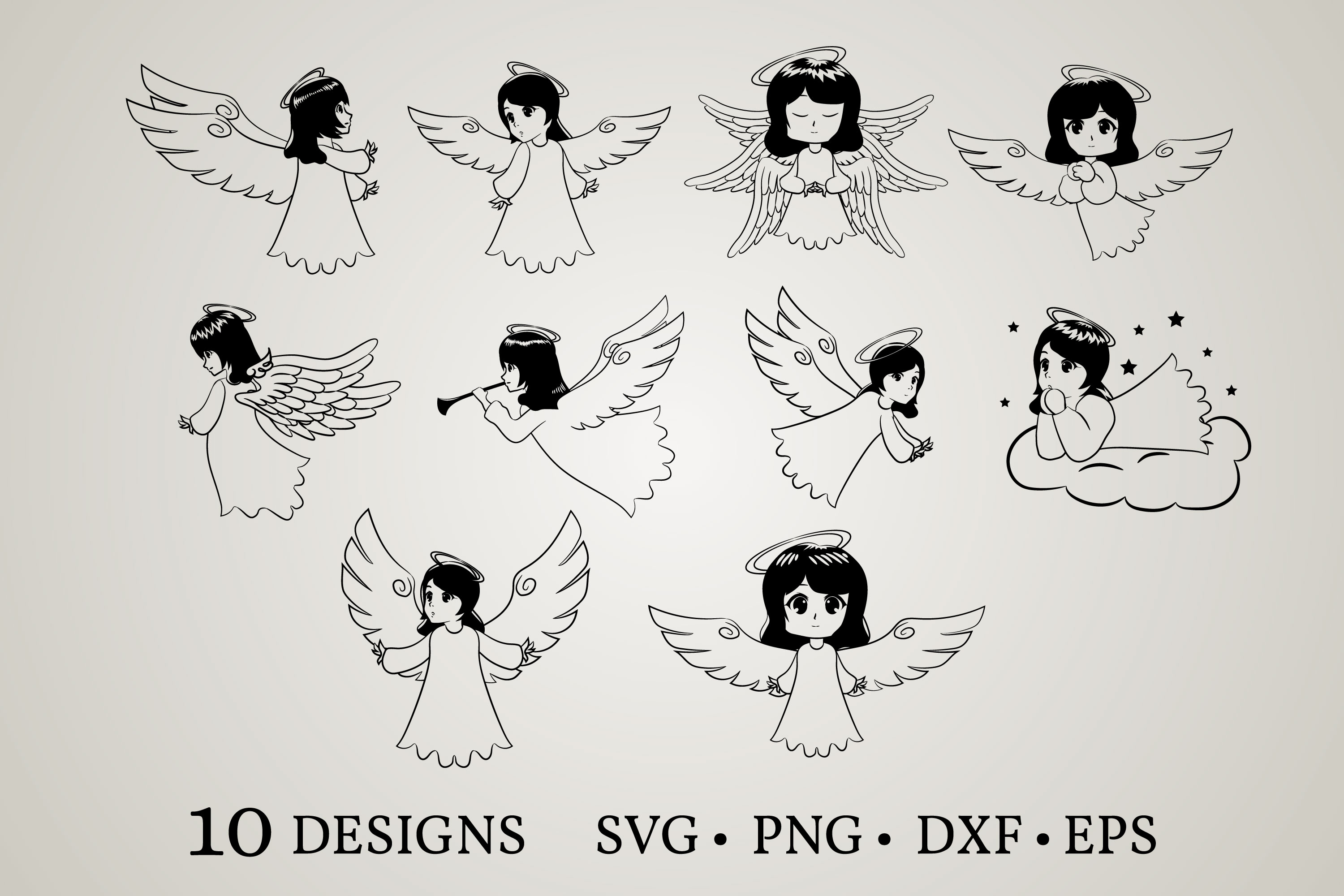 Download Free Angel Bundle Graphic By Euphoria Design Creative Fabrica for Cricut Explore, Silhouette and other cutting machines.