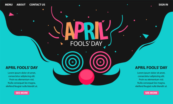 Print on Demand: April Fools Day Grafik Landing Page Templates von be young