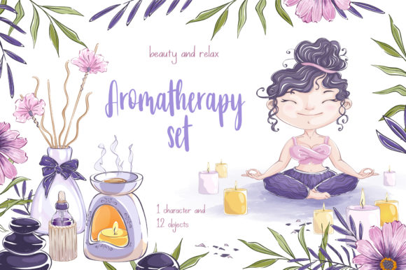 Aromatherapy Set Graphic Illustrations By Maycat