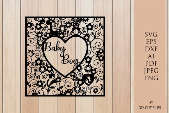 Print on Demand: Baby Boy Frame Paper Cut Template Graphic Crafts By DIYCUTTINGFILES