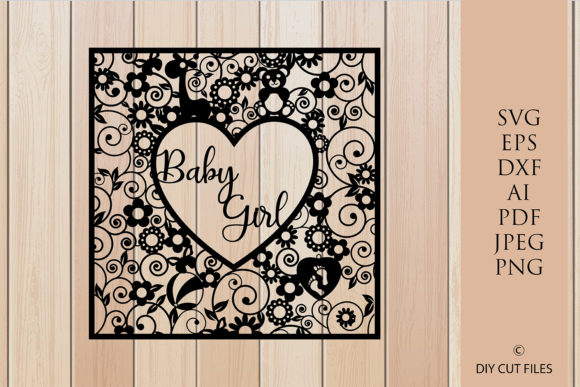 Download Free Baby Girl Frame Paper Cut Template Graphic By Diycuttingfiles for Cricut Explore, Silhouette and other cutting machines.