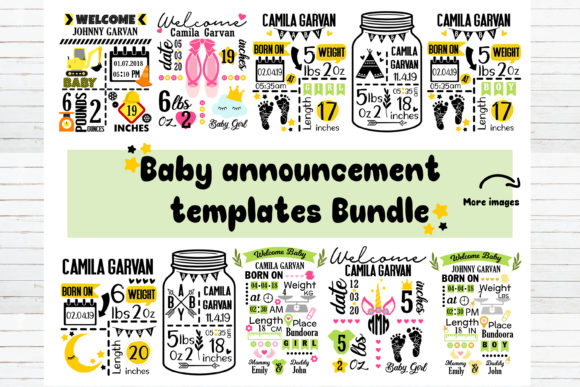 Baby Announcement Chart Bundle Grafik Plotterdateien von redearth and gumtrees