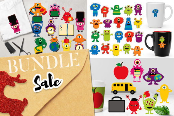 Print on Demand: Back to School Monster Bundle Graphic Illustrations By Revidevi