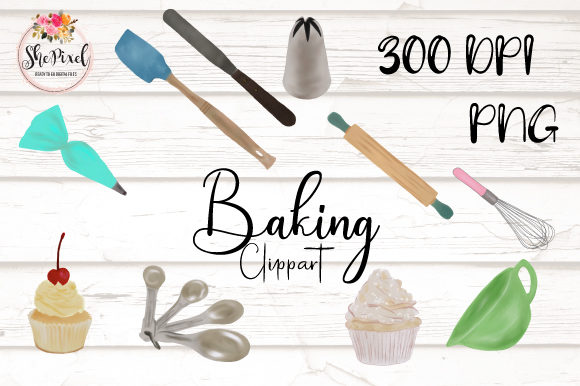 Print on Demand: Bakery Baking Clipart, Baking Tools Graphic Illustrations By ShePixel